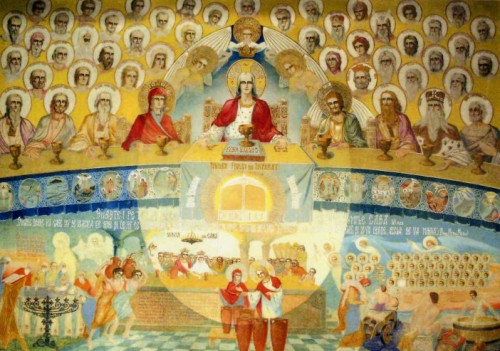 """""""La boda del Hijo del Rey"""", fresco del padre Arsenio Boca. Iglesia de Draganescu, Bucarest (Rumanía)."""