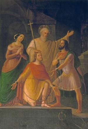Los Santos Valeriano y Tiburcio visitados en prisión por Santa Cecilia y por el papa Urbano. Lienzo de A. Botazzi.
