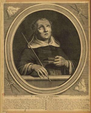 Xilografía del Beato Gonçalo do Amarante, presbítero dominico.
