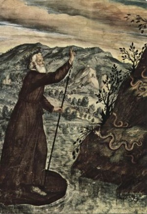 San Julio expulsando las serpientes. Fresco del s.XVII en Isola San Giulio, Italia.
