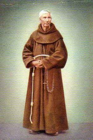 Fotografía coloreada del Santo en su hábito de franciscano.