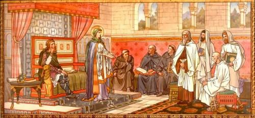 La Santa, anfitriona del Concilio de Escocia. Pintura historicista en la iglesia de la Santa en Queensferry, Reino Unido.