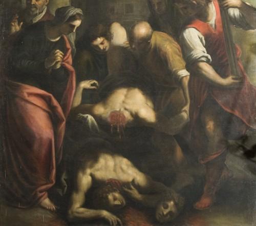 Santa Cecilia hace recoger y enterrar los cadáveres de Valeriano y Tiburcio. Detalle de un lienzo de Negretti.
