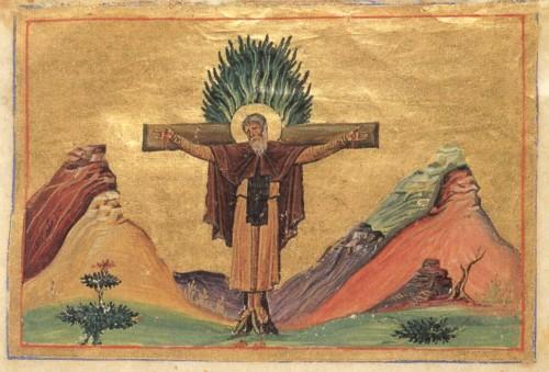 Martirio del Santo. Iluminación del Menologio de Basilio II. Biblioteca Apostolica Vaticana, Roma (Italia).
