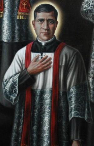 Detalle del Santo en una estampa devocional de los mártires mexicanos.