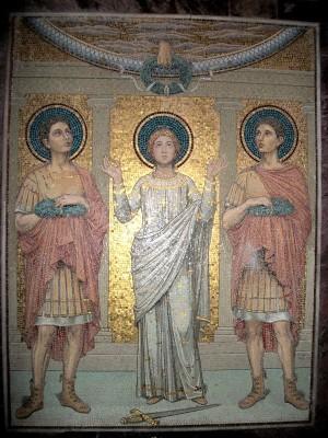 Mosaico de los Santos Cecilia, Valeriano y Tiburcio. Cripta de la Basílica de Santa Cecilia in Trastevere, Roma (Italia).