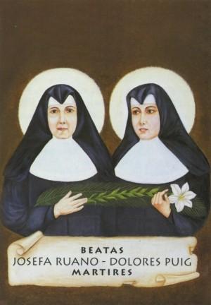 Estampa devocional de las Beatas mártires de Requena (Valencia).