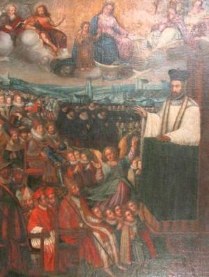San Pedro predicando ante el Papa. Pierre Wuilleret, Colegio de Friburgo (Suiza).
