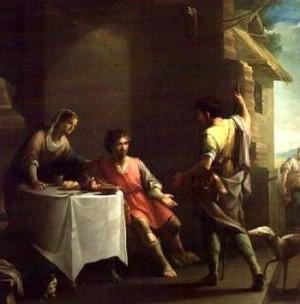 Jacob ofrece un plato de lentejas a su hermano Esaú. Lienzo de Zacarías González Velázquez.