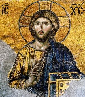 Cristo del mosaico bizantino de la Deesis. Iglesia de Santa Sofía, Estambul, Turquía.