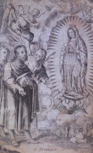 """Matías de Arteaga y Alfaro, grabado/papel, """"La primera aparición de Nuestra Señora de Guadalupe"""", 1686, este grabado forma parte de la primera serie de cuatro que representa a las apariciones de la Virgen en el Tepeyac y que inspiraría obras posteriores."""