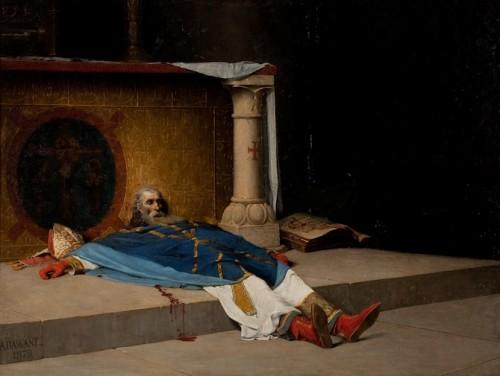 """""""La muerte de Santo Tomás Becket"""", lienzo de Albert Pierre Dawant (1852-1923). Museo de Fécamp, Francia."""
