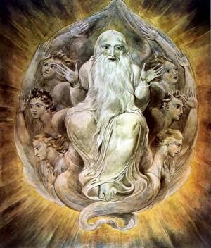 """""""Dios bendiciendo el Séptimo Día"""", lienzo de William Blake (ca. 1805)."""