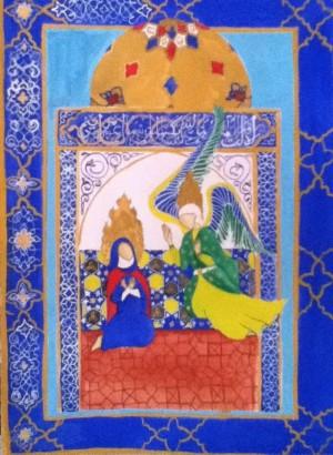 El arcángel Yibril anuncia a Maryam que será madre del profeta Isa. Ilustración inspirada en un tapiz persa.