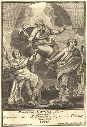 Santos Primiano, Firmiano y Casto. G. Petroschi, Archivo histórico-diocesano de Termoli-Larino.
