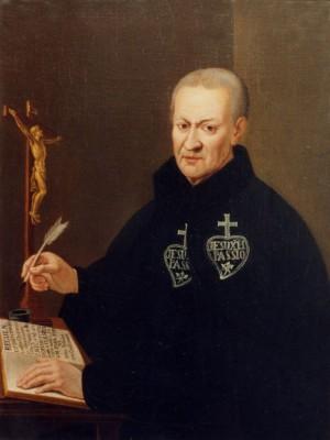 El Santo escribiendo las Reglas de los Pasionistas. Obra de Ignacio Tozi (XIX).
