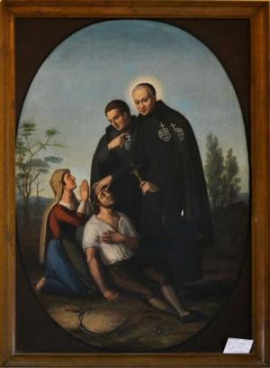 El Santo atiende a los necesitados. Pintura en la iglesia de San Euticio (Pasionistas) en Soriano nel Cimino.