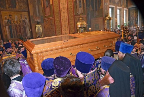 Las reliquias en la Catedral de la Transfiguración de Belgorod.