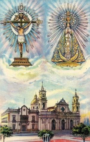 Vista de las dos veneradas imágenes y el templo homónimo en Salta, Argentina. Estampa devocional.