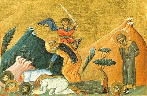 Martirio de los Santos Ciro, Juan, Atanasia e hijas. Menologio de Basilio II, s. XI. Biblioteca Apostolica Vaticana, Roma (Italia).