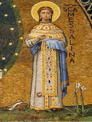 Detalle de la Santa en un mosaico decimonónico. Fachada de la catedral de Foligno, Italia.