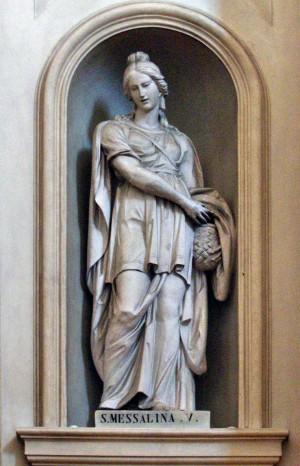 Imagen de la Santa con su atributo principal: la cesta de mimbre. Catedral de Foligno, Italia.