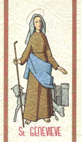 Estampa devocional británica de Santa Genoveva de París.