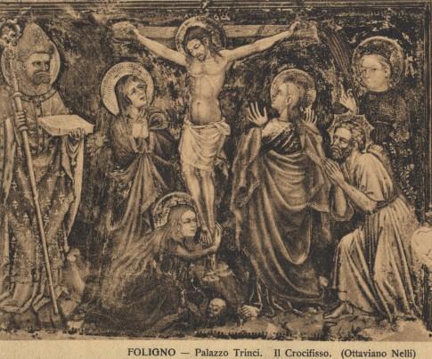 Tabla  de Ottaviano Nelli con el Calvario, San Feliciano y Santa Mesalina. Palazzo Trinci de Foligno, Italia.
