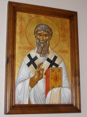 Icono ortodoxo griego de San Trifilio.