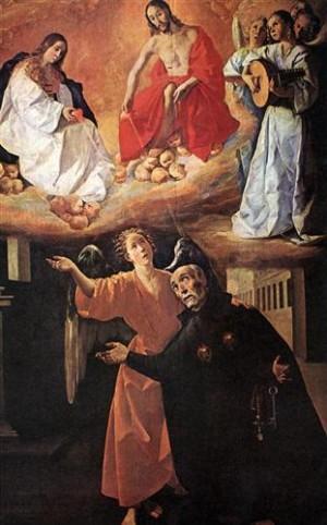 """""""Visión de San Alonso Rodríguez"""". Lienzo barroco del pintor español Francisco de Zurbarán, año 1633."""
