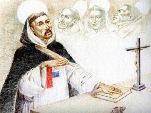 Dibujo contemporáneo del Santo y la nueva Regla. Detrás, sus predecesores. Fuente: iglesia.almodovardelcampo.org