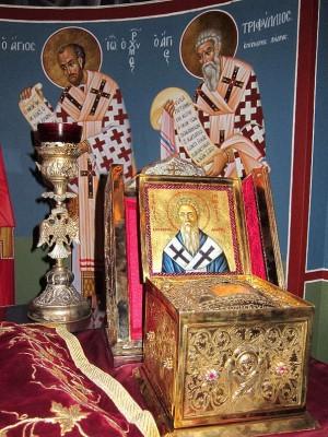 Relicario con el cráneo del santo en el monasterio Kykkou (Chipre).
