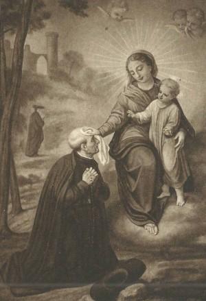 Aparición de la Virgen a San Alonso Rodríguez. Estampa devocional.
