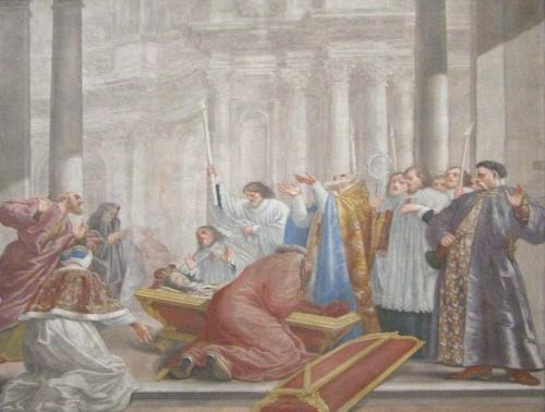 El cuerpo del Santo es hallado incorrupto.  Fresco de Michelangelo Palloniego. Capilla del Santo en Vilnius (Lituania).