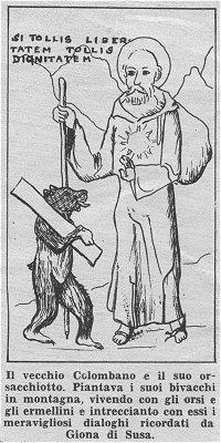 Grabado de San Columbano y el oso.