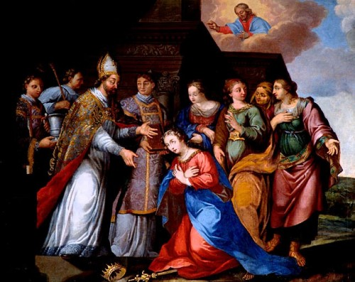 San Eutropio convierte a la Santa. Lienzo de Ariusz Hermanowicz. Iglesia de Saint Léger, Cognac (Francia).