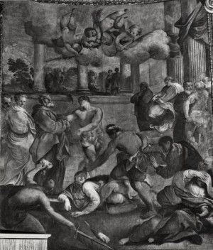 Martirio de los Santos Exuperia, Olimpio, Sempronio y Teódulo. Lienzo de Francesco Rigamonti y Giovanni Angelo Canini, siglo XVII. Iglesia de Santa Maria Nova, Roma (Italia).