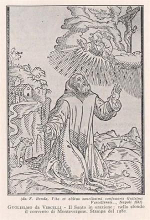 Grabado de San Guillermo de Vercelli en oración, el oso en segundo plano.
