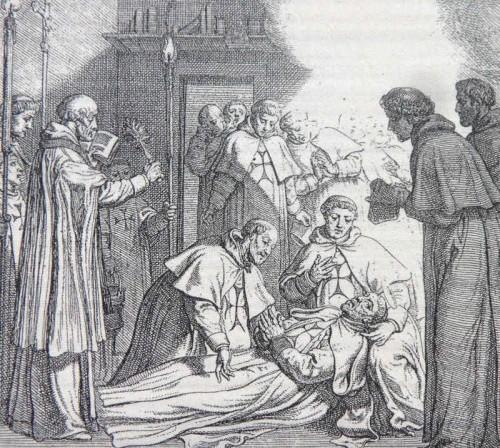 Muerte del Santo. Grabado del s.XVII. Fuente: meditacionestrinitarias.blogspot.com.es