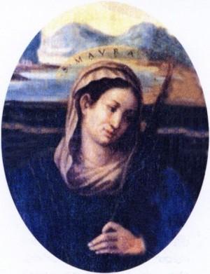 Detalle de Santa Maura en un lienzo barroco. Iglesia de Santa Maria In Porto, Rávena, Italia.