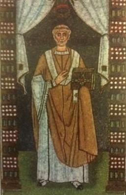 Mosaico paleocristiano de San Urso de Rávena. Basílica de San Apolinar in Classe, Rávena (Italia).