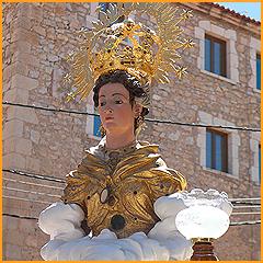 Busto de Santa Rosina venerado en Cella, Teruel (España).