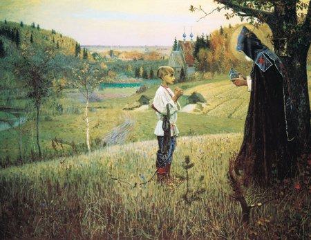 San Sergio y el monje en el campo. Óleo naturalista ruso.