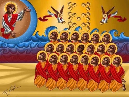 Icono copto de los 21 mártires, obra de Tony Rezk.