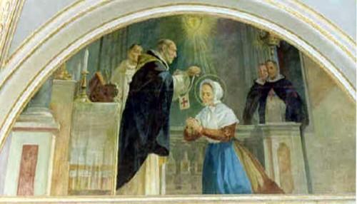 Pintura de la Beata recibiendo el escapulario de la Tercera orden trinitaria.