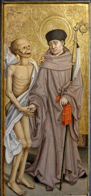 Detalle de San Fridolino en una tabla gótica. Museo de Bellas Artes de Dijón, Francia (siglo XVI).