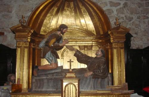 Conjunto escultórico del milagro del anciano pidiendo pan. Laguna de Duero (Valladolid). Fotografía: Jesús Sinovas