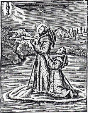Litografía mostrando el cruce del río Duero sobre su capa.