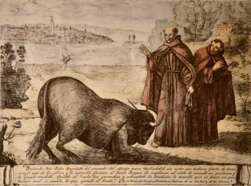Grabado con el milagro del toro.