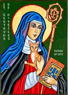 Icono de Santa Gertrudis de Nivelles, patrona de los gatos. Obra de Marice Sariola.